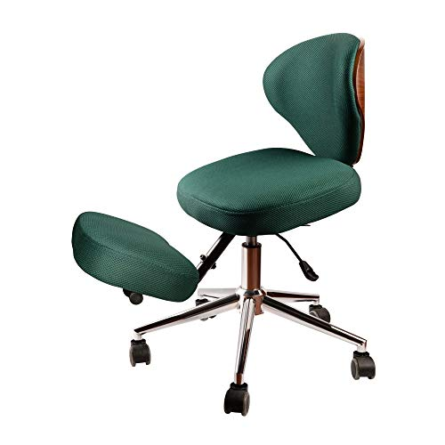 Kneeling Chair, Ergonomic Kneeling Chair with Back Support, Adjustable Stool for Posture Improvement in Home and Office, Thick Comfortable Mesh Cushions, Green