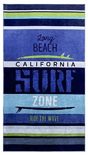 Lashuma Toalla de playa de terciopelo Malibu, a rayas, multicolor, 100 x 180 cm