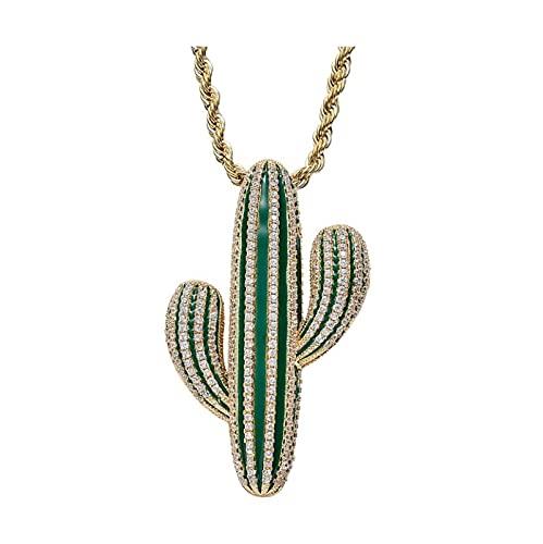 Travis Scott - Collar con colgante con forma de gato de cactus, cristal de hielo, circonita cúbica, regalo de hip hop