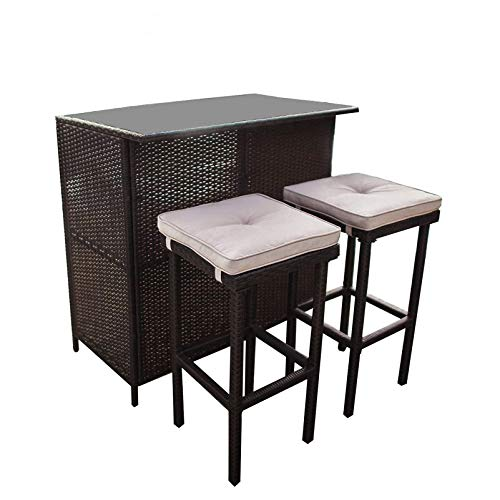 SUNCROWN Outdoor Bar Set 3-Piece Brown Wicker Patio Furniture - Glass Bar and...