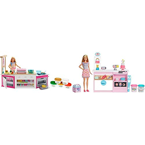 Barbie FRH73 CAREERS Ultimate Kitchen with Doll Playdough, Cooking, Baking Toy for 4 to 9 Years Children Playset, Multi-Colour & Cake Decorating Playset