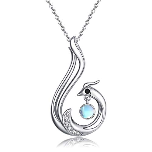 CHENGHONG Phoenix Necklace 925 Sterling Silver Moonstone Necklace Bird Animal Pendant Necklace with Moonstone for Women Peacock Jewelry for Mom