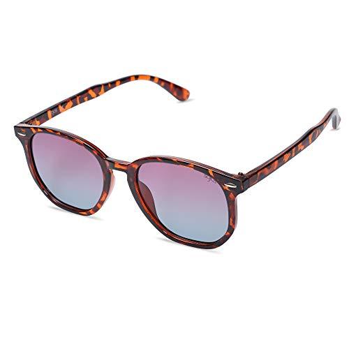 SOJOS Hexagonal Polarisiert Sonnenbrille Herren Damen Uvprotect Sonnenbrille Elie SJ2118 mit Tortoise Rahmen/Gradiente Braune Linse