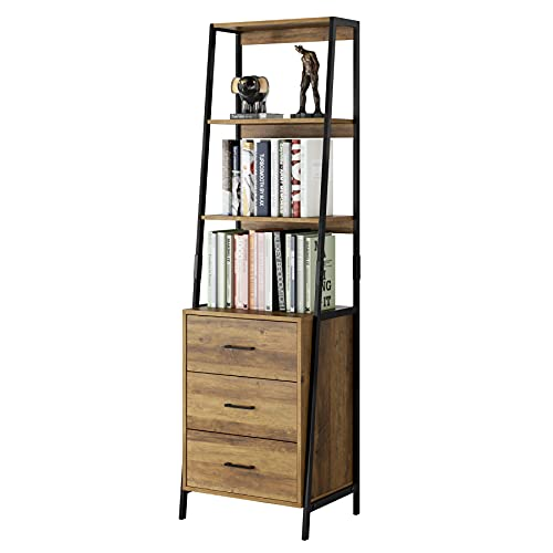Industrial Ladder Shelves, Bookcase with Fabric Drawers and 3 Tier Open Shelves, Freestanding Storage Cabinet Tall Nightstand for Living Room, Bedroom, Office, Rustic Brown
