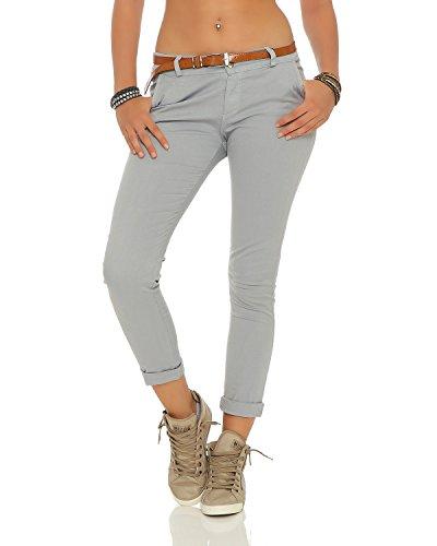 ZARMEXX Damen Stretch Röhrenhose mit Gürtel Chino Skinny Stoffhose Jeggings, Hellgrau, Gr. XL (42)