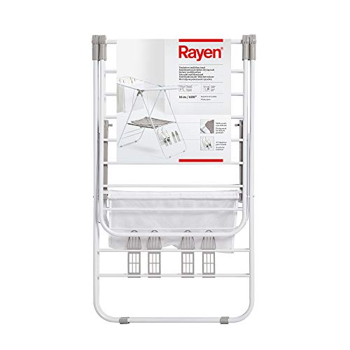 Rayen   Tendedero Multifuncional   Material Resistente   Tendedero con Varillas XXL   Superficie de tendido de 16 Metros   Malla de Secado de Ropa Delicada   4 colgadores para Calzado   145x61x98cm