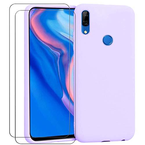 Ingen Funda para Huawei P Smart Z + 2 Pack Protector de Pantalla, Funda Suave de Silicona Líquida con tapete de Microfibra Anti-Rasguño - Púrpura.
