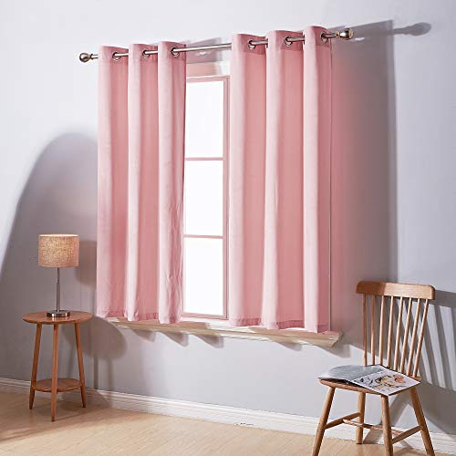 Deconovo Soft Luxury Velvet Curtain Panel Grommet Sound Reducing Window Curtain Set for Girl Room 2 Panels Baby Pink 38W x 54L