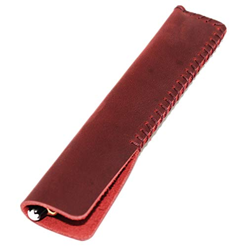 Handmade Genuine Leather Single Pen Case Fountain Pen Sleeve Holder Pouch Cover Vintage (Red)
