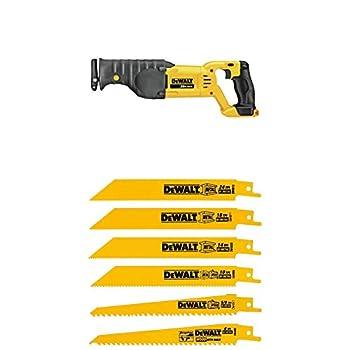 DEWALT DCS380B 20-Volt MAX Li-Ion Reciprocating Saw  Tool Only  with DW4856 Metal/Woodcutting Reciprocating Saw Blade Set 6-Piece