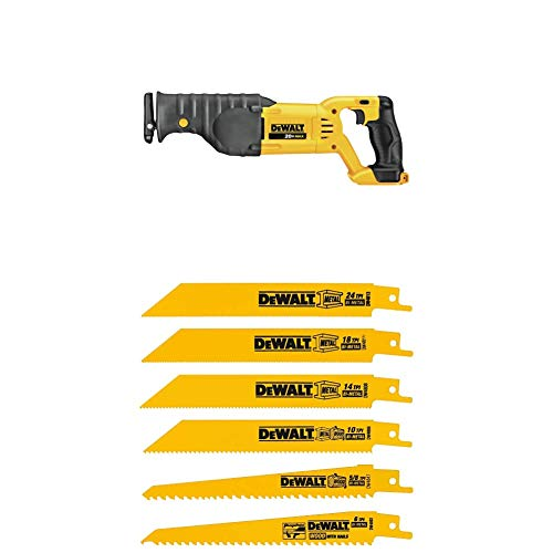 DEWALT DCS380B 20-Volt MAX Li-Ion Reciprocating Saw (Tool Only) with DW4856 Metal/Woodcutting Reciprocating Saw Blade Set, 6-Piece