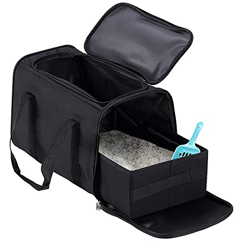 Petleader Collapsible Portable Cat Litter Box Black for Travel Light Weight Foldable