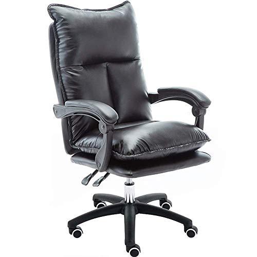 THBEIBEI Computer Stuhl, Schreibtisch, Stuhl Double-Layer-Design-Large Fünf-Sterne-Fuß-Diameter Einstellbare Gesamthöhe der Qualitäts-PU-Material ultimative Komfort Leder (Color : Black)