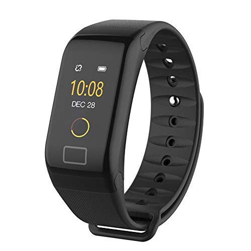 Insaneness F1 Color Fitness Blood Pressure Oxygen Heart Rate Monitor Smart Fitness Watch Bracelet (Black)