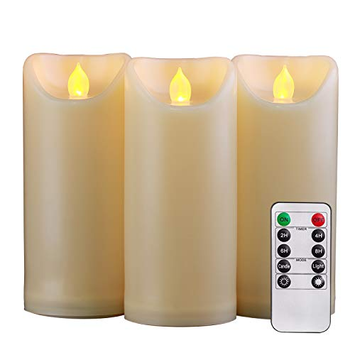 Homemory 3PCS 7' 7' 7' Waterproof Flameless Candles with Timer and Remote Control, Outdoor Battery Operated Flickering LED Candles, Ivory Appearance and Amber Yellow Light