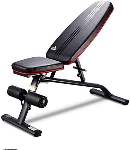 HUJPI verstellbare Sit-Up-Bank, Klappbar Trainingsbank höhenverstellbar Hantelbank mit hochwertigem dickem Polster/Rückenlehne für Ganzkörpertraining für´s Home-Gym,Black_47.5 * 115 * 115.5cm