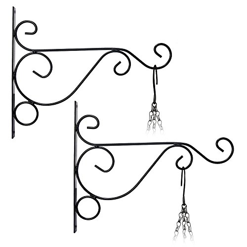 JTDEAL 2Pcs Suspension Mural Crochet Plante(26cm*21cm) Suspendre Support de Pot de Fleur Carillons Lanterne Panier de Jardin en Métal pour Décoration de Jardin, Balcon(Noir)
