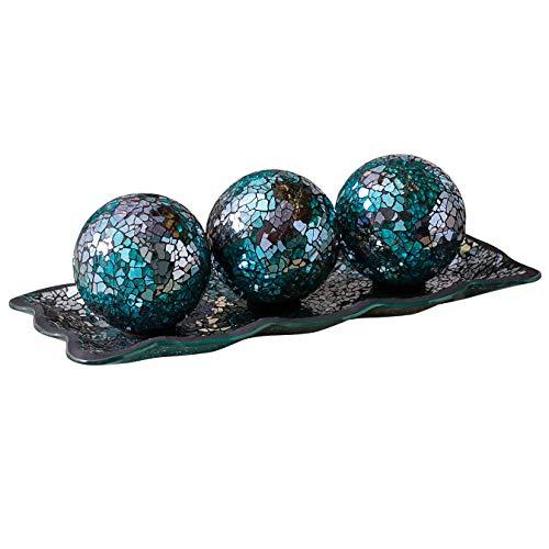 "KMwares 12.4"" Mosaic Glass Decorative Tray Dish Plate with 3pcs 3'..."