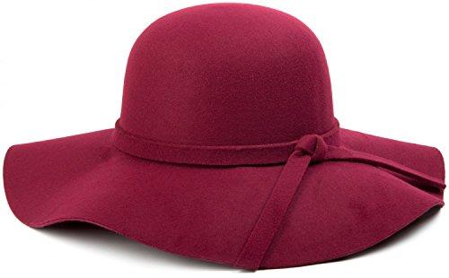 styleBREAKER styleBREAKER Damen Floppy Fedora Filzhut mit abnehmbarem Zierband und Schleife 04025004, Farbe:Bordeaux-Rot
