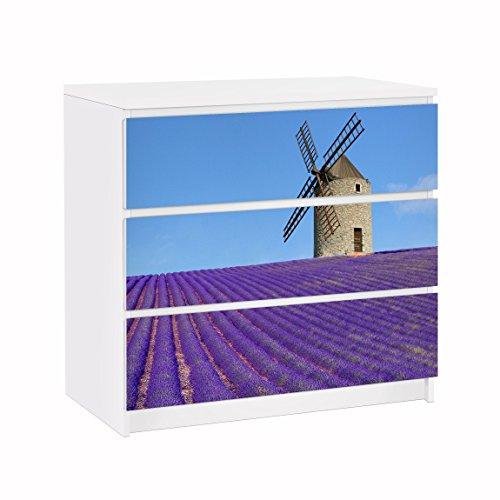 Apalis Vinilo Adhesivo para Muebles IKEA - Malm Dresser 3xDrawers - Lavender in Provence, Größe:3 Mal 20cm x 80cm