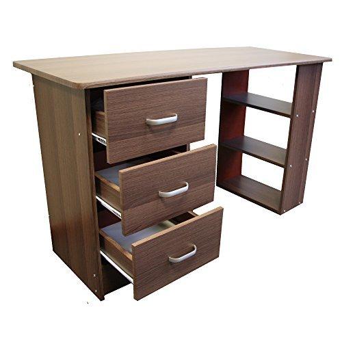 Redstone Nussbaum Dunkel Schreibtisch - 3 Schubladen + 3 Regale - Arbeitstisch Computertisch Bürotisch