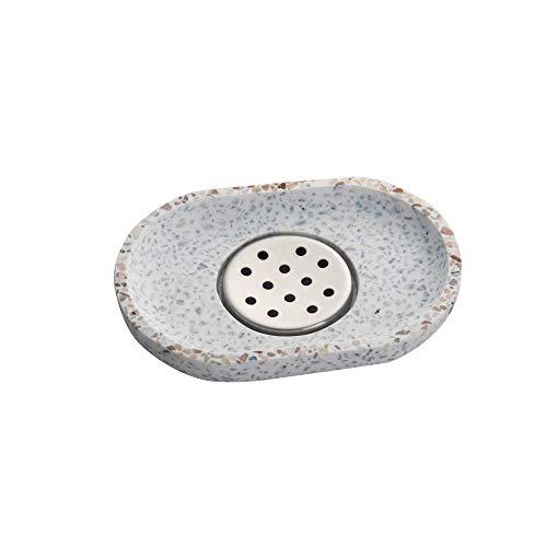IMEEA Terrazzo Seifenschale mit Edelstahl Abtropfwanne Seifenhalter Seifenablage für Bad und Küche