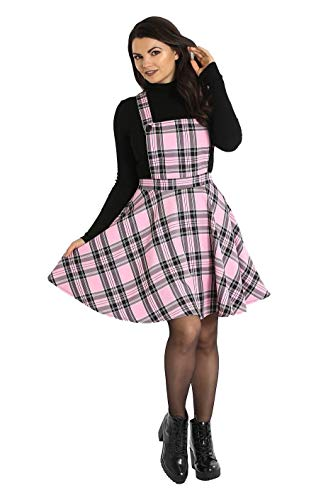 Vestido de Hell Bunny Islay Pinafore Tartán Punk Vintage Retro XS-4XL - Rosa (2XL)