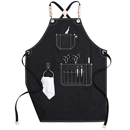 Jeanerlor Work Apron Canvas Water-Resistant Tool Aprons for Women Cross Back Straps Adjustable S-M(Black)