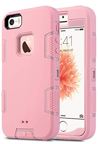 ULAK iPhone 5S Case, iPhone 5 Case,iPhone SE Case, Knox Armor Heavy Duty Shockproof Sport Rugged Drop Resistant Dustproof Protective Case Cover for Apple iPhone 5 5S SE -Rose Gold
