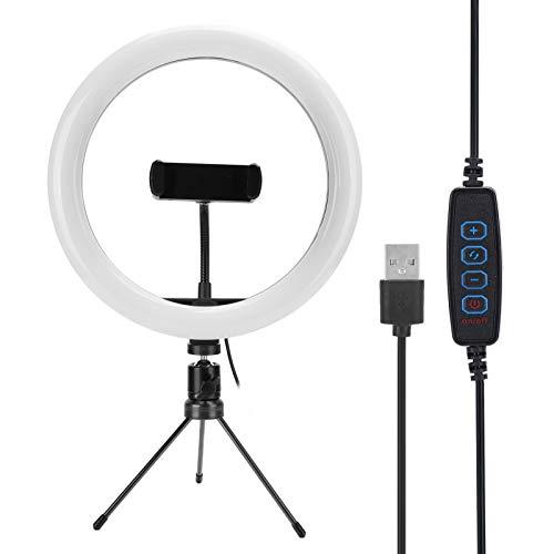 Anillo de luz LED Selfie de 10'con Soporte para trípode de Escritorio/Soporte para teléfono, Anillo de luz de Maquillaje para fotografía, Disparo con 3 Modos de luz / 11 Niveles de Brillo