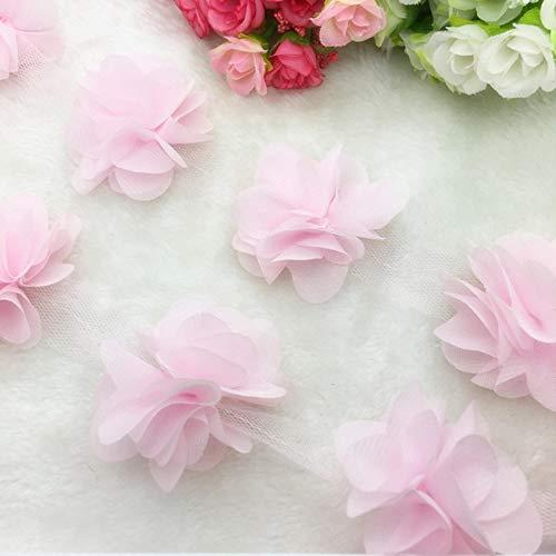 1 Yard Lace bloem chiffon trouwjurk bruids stof Lace Trim DIY Baby haarband, licht roze