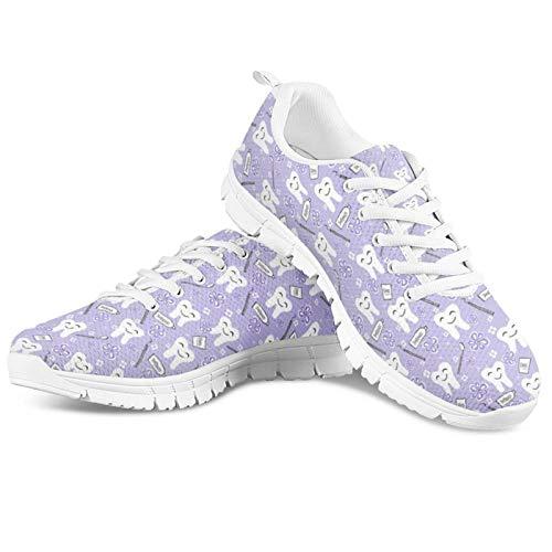 HUGS IDEA Zapatillas deportivas de malla de espuma viscoelástica ultraligeras para niñas, con estampado de malla transpirable, color, talla 42.5 EU