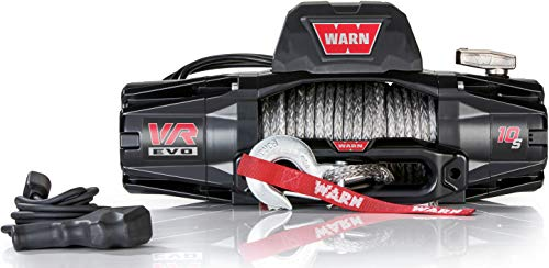 "WARN 103253 VR EVO 10-S Electric 12V DC Winch with Synthetic Rope: 3/8"" Diameter x 90' Length, 5 Ton (10,000 lb) Pulling Capacity"