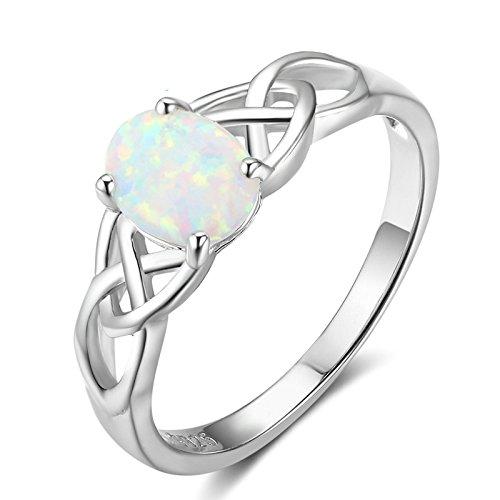 Beydodo 925 Sterling Silber Ringe Damen Silber mit Oval Opal Keltische Knoten Partnerring Verlobung Ring Silber Größe 54 (17.2)