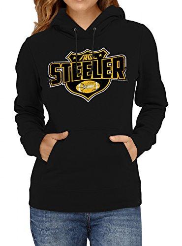 Shirt Happenz True Steeler #8 Premium Hoodie Superbowl American Football Play Offs Frauen Kapuzenpullover, Farbe:Schwarz;Größe:XXL