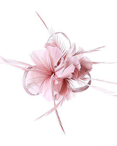 Hotstylezone Haarspange mit Federn und Mini-Hut, für Hochzeiten, Royal Ascot Race Gr. 85, rosa - dusty pink