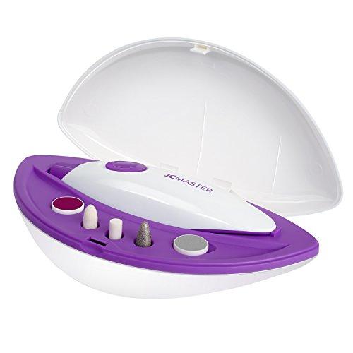 JCMaster Set Manicure e Pedicure Elettrico Portatile 5 IN 1, Bianco e Viola