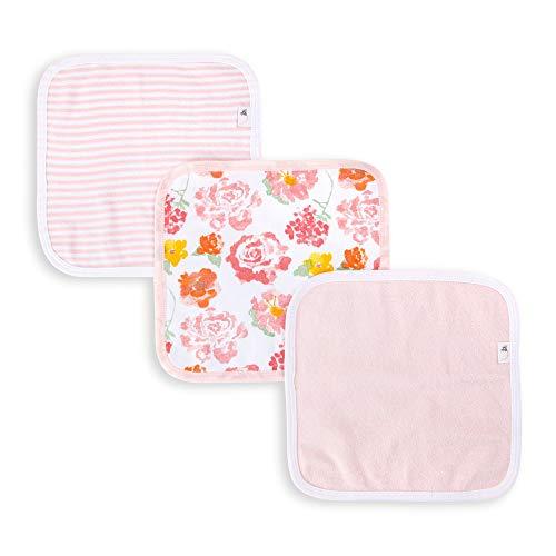 Burt's Bees Baby 15 peças de toalhas, Rosy Spring, Pack of 3