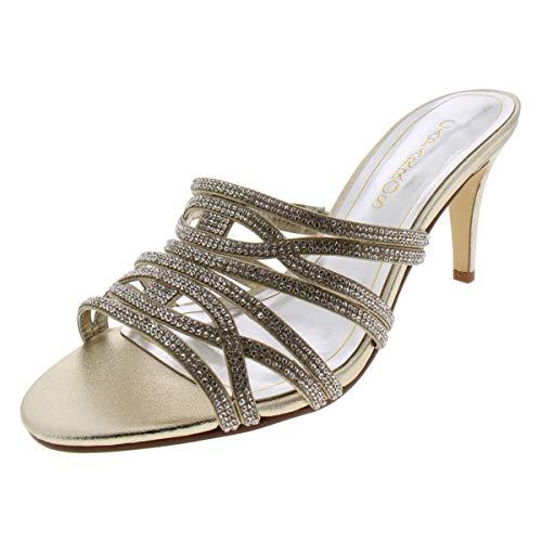 Caparros Womens Impulse Satin Rhinestone Dress Sandals Gold 7.5 Medium (B,M)