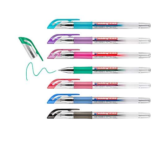 edding 2185 Gelroller - schwarz, rot, blau, gün, violett, pink, hellblau - 7er-Set - 0,7 mm - Gelstifte zum Schreiben, Malen, Mandala, Bulletjournal - Gelschreiber, Gelmalstifte