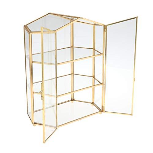 H HILABEE Soporte Cosmético de Vidrio Transparente para Maquillaje con Estuche de Almacenamiento Organizador de 3 Compartimentos