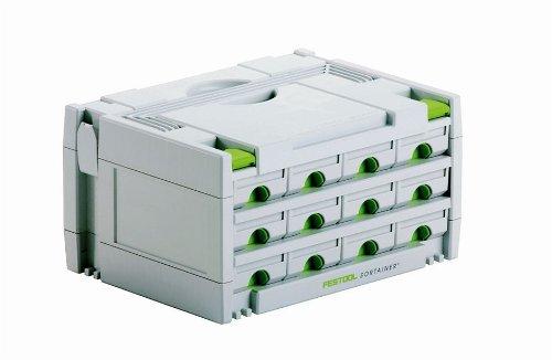Festool 491986 SYS 3-SORT/12 Sortainer Ordnungshilfe mit Schubk&aumlsten, Weiß, Weiß