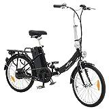 vidaXL Bicicleta eléctrica Plegable aleación Aluminio batería Litio-Ion Negro