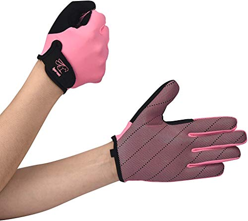 "Hornet Watersports Full Finger Pink Rowing Gloves with Non-Slip Grip Ideal for Paddling, Sailing, Fishing, Kayaking, Boating and More (L (Fits 7""-7.5""))"