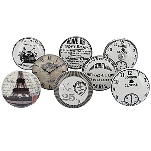 G Decor Weiß/Silber Türknäufe aus Keramik, Vintage, Antike Möbelknäufe (8er-Pack)