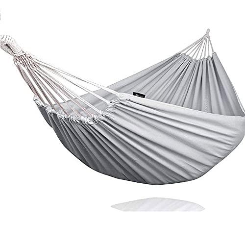 Hamaca doble que no se decolora, 2,7 m de largo x 1,5 m de ancho, correa transpirable de algodón puro, ideal para vacaciones y salidas