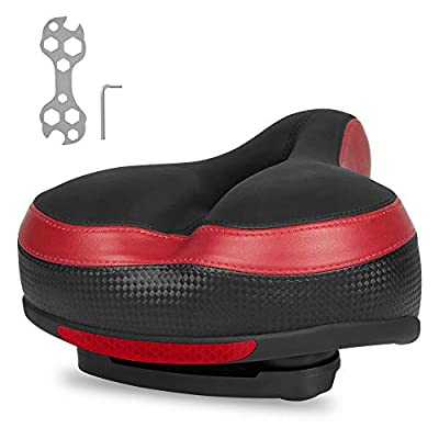 Toplimit Comfort Bike Seat with Dual Shock-Absorbing Ball,High Density Memory Foam Bicycle Saddle for Men Women, Hollow Design,Universal Fit Saddle with Tools (red)