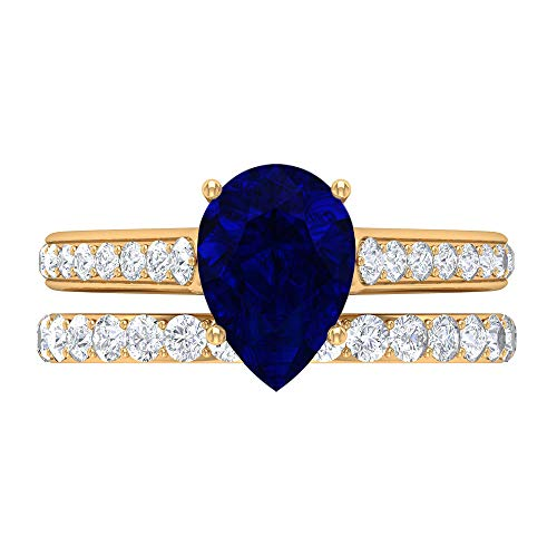 Vintage Engagement Ring, Bridal Rings Set, 7X10 MM Pear Shape Gemstone Ring, D-VSSI 2.7 CT Solitaire Blue Sapphire Ring, Eternity Band, Anniversary Ring, 18K Yellow Gold, Size:UK Q1/2