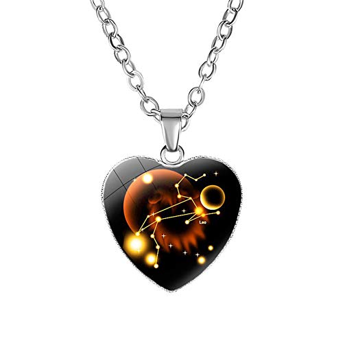 Hislaves Colares femininos, colar de coração de amor com personalidade, vidro charmoso, 12 signos do zodíaco pingente Leão
