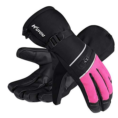 KUYOU Skihandschuhe Herren Damen Winter Ski Snowboard Handschuhe Winterhandschuhe Wasserdicht Warm Thinsulate Thermo (XL, Rosa)